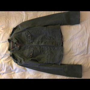 Zara military style jacket crop in dark green